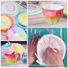 This paper plate craft starts with a simple plate and ends with a colorful painted paper vase.  #papercrafts #kidscrafts #easykidscrafts #paperplatecrafts