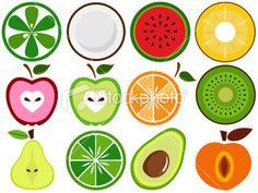 Fresh, Cute Vegetable, fruit cut in half (vector Icons) Set#3 Royalty Free Stock Vector Art Illustration