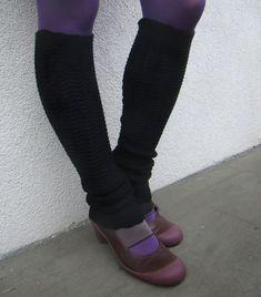 Leg Warmers Black Pure Merino Wool Spats Woolen Black Soft
