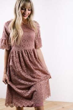 The Bayley Lace Empire Dress in Dusty Rose