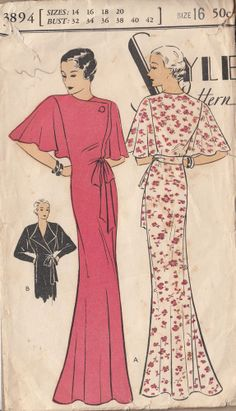 1933 Wrap Front Cape or Dolman Sleeves Negligee Gown | Style 3894