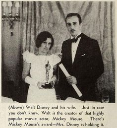 Walt and Lilian Disney; 1932 Oscar for creation of Mickey Mouse (Modern Screen; 1933-02: page 40)