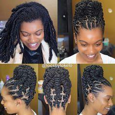 Barrel twist updo 😍 on medium length locs. 🌻 Retwist using: 🌻Finishing oil: 📲 Order yours today! Dreadlock Styles, Dreads Styles, Updo Styles, Curly Hair Styles, Ponytail Styles, Twist Styles, Loc Hairstyles For Men, Dreadlock Hairstyles, Black Hairstyles
