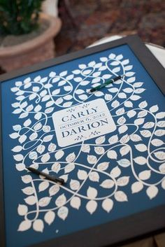 Love this graphic ivy alternative to the traditional wedding guestbook (Photo by Nancy Aidée Photography)