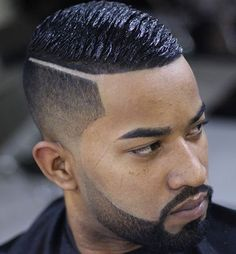 Black Men Haircuts - Taper and Hard Part with Wave Cut