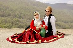 Iranian couple in Gilaki traditional clothing. Gilaki Iranian traditional cloths . in Gilan - Iran