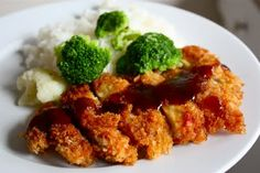 chicken katsu with katsu sauce...eggs, cornstarch, bone/skinless ckn thighs, panko, Worcestershire sauce, ketchup, ckn bouillon