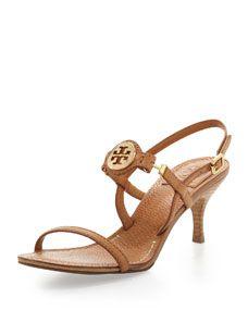 In love....Tory Burch Mira Slingback Logo Sandal, Tan