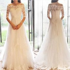 Princess 1/2 Long Sleeve Off Shoulder 2016 Lace #Wedding Dresses# Applique Long Wedding Gowns Floor Length Wedding Dress Wedding Dresses Bridal Wedding Dresses Collection From Orientalrose, $141.37  Dhgate.Com