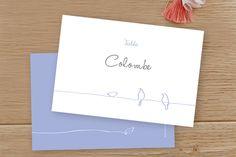 marque-table mariage oiseaux par Tomoë pour www.fairepart.fr #mariage #wedding #weddingtable