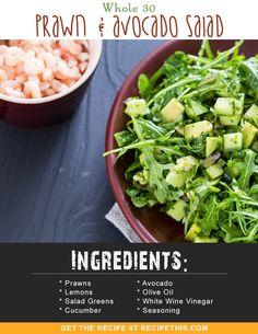 Whole 30 Prawn & Avocado Salad Prawn And Avocado Salad, Avocado Salad Recipes, Avocado Salat, Avocado Dessert, Cucumber Salad, Avocado Toast, Quick Shrimp Recipes, Easy Dinner Recipes, Seafood Recipes