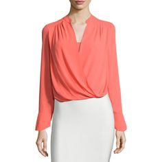 BCBGMAXAZRIA Jaklyn Long-Sleeve Draped Top (4 170 UAH) ❤ liked on Polyvore featuring tops, ambrosia, drape top, long sleeve surplice top, red top, ruched top and red long sleeve top