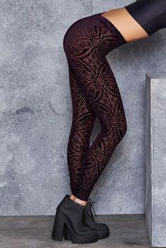 Burned Velvet Aubergine Leggings - LIMITED ($80AUD) by BlackMilk Clothing