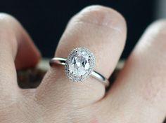 Engagement Ring Allegoria Medio Moissanite Diamonds Oval Halo Plain Band Diamod Cut White-Yellow-Rose Gold-10k-14k-18k