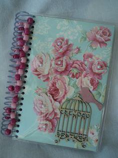 Agenda e/ou Caderno forrado com tecido e apliques!!!