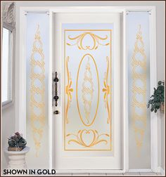 Ritz Leaded Glass Privacy with Gold Lead Lines