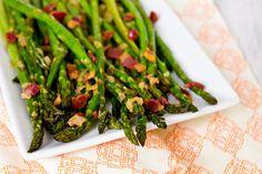 Roasted Asparagus with Bacon VinaigretteRoasted asparagus dressed up with a warm bacon vinaigrette #YUM
