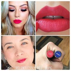 """""""Match it Monday"""" Today I'm color matching MAC """"relentlessly red"""" lipstick with LipSense STRAWBERRY SHORTCAKE. If you're a MAC lover come switch to a long lasting lipstick. I have all these colors in stock ready to ship or pick up. shop at: Senegence.com/lastinglipsbylindsey . link in profile lasts up to 18 hours smudge-proof, kiss-proof, and water-proof over 70 colors to choose from"""