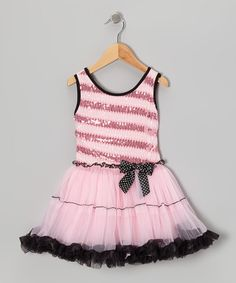 Take a look at this Pink Stripe Sequin Pettiskirt Dress - Infant, Toddler & Girls on zulily today!