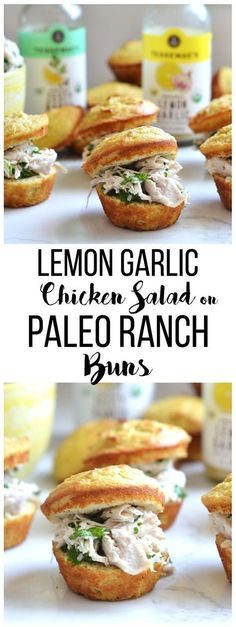 These Lemon Garlic Chicken Salad on Paleo Ranch Buns are a delish and simple paleo lunch! These Lemon Garlic Chicken Salad on Paleo Ranch Buns are a delish and simple paleo lunch! Real Food Recipes, Chicken Recipes, Cooking Recipes, Healthy Recipes, Paleo Food, Chicken Ideas, Paleo Kids, Chicken Salads, Paleo Bread