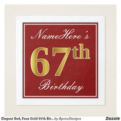 Elegant Red Faux Gold Birthday Custom Name Paper Napkin - script gifts template templates diy customize personalize special 27th Birthday, Birthday Name, Birthday Parties, Birthday Diy, Birthday Gifts, 49ers Birthday Party, Happy Birthday, Diy Design, 60th Birthday Party Invitations