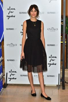Alexa Chung wore a Carven dress and Charlotte Olympia pumps to launch her first collection for the make-up brand in Selfridges.