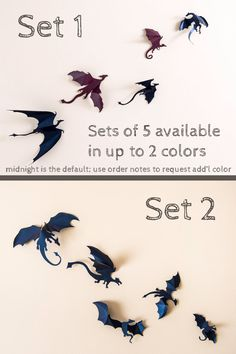 Hello Game of Thrones fans!  Set includes 5 (or 10) detailed 3D dragon silhouettes. Each dragon is a work of art, carefully designed and hand