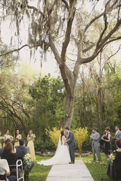 Rustic Outdoor Florida Wedding Ceremony Under Spanish Moss Tree Sarasota Venue Bakers Ranch