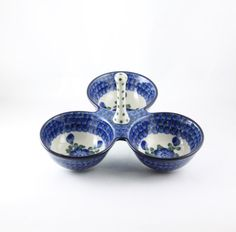 Handmade Ceramic Triple Divided Dish - Gifts by Kasia - 1