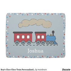 Boy's Choo Choo Train Personalized Baby Blanket