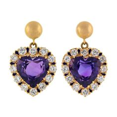 Retro Victorian Revival 14kt Diamond Amethyst Heart Earrings ☆$2,595☆