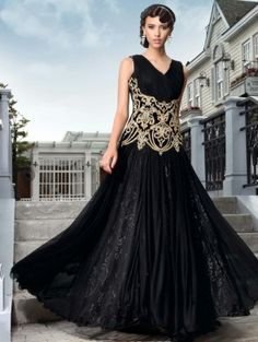 Black Net Wedding Gown With  Lycra Inner