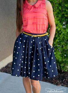 Blue Pencil/High Waist Skirt - Navy Mid Length Skirt with Pockets