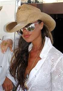 Hat, aviators and white shirt.