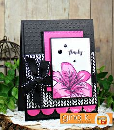 GKD June 2017 Release.  Card by Sheri Gilson.  Lovely Lillies stamp set illustrated by Claire Brennan for Gina K. Designs.  www.shop.ginakdesigns.com
