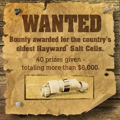 Hey salt lovers – we've placed a bounty on the nation's oldest salt cell.  Anyone found owning the oldest above and in-ground Hayward TurboCell is likely to win one of 40 cash prizes totally over $8,000.  Is it hiding in your backyard?  Visit Link for more information http://contest.hayward.com/wantedbounty
