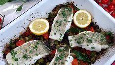 John Torode's baked fish, tomatoes, lemon and olives