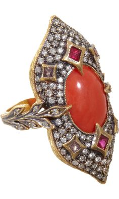 Cathy Waterman   Long Coral & Diamond Arabesque Ring