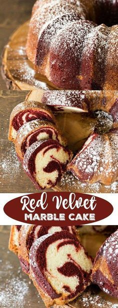 Red Velvet Marble Cake Recipe - easiest way to make pretty marble cake! A secret ingredient makes this easy Red Velvet Marble Cake extra moist. Plus, get tips for making the perfect marble swirls. Marble Cake Recipes, Homemade Cake Recipes, Pound Cake Recipes, Baking Recipes, Cheesecake Recipes, Easy Recipes, Beaux Desserts, Köstliche Desserts, Delicious Desserts