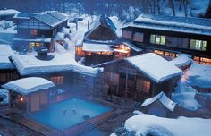 Nyuto Onsen Kyou is the rural spa resort located in Tazawa Lake at the base of Nyuto Mountain in Akita Prefecture. Japanese Spa, Japanese Hot Springs, Beautiful Places In Japan, Winter Images, Visit Japan, Akita, Resort Spa, Land Scape, Places To Go