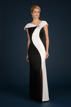 This cap sleeve long mother of the bride dress has an asymmetrical neckline, a swirl panel, and a high slit.