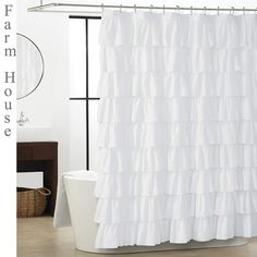 WestWeir White Ruffle Shower Curtain - Farmhouse Cloth Bathroom 72 x 72 Inches T. WestWeir White R Bathroom Shower Curtains, Fabric Shower Curtains, Bathroom Flooring, Drapes Curtains, White Ruffle Shower Curtain, White Shower, Farmhouse Style Curtains, Cheap Curtains, Bathroom Colors
