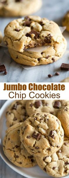 Jumbo Chocolate Chip Cookies - Chewy Candy - Ideas of Chewy Candy #ChewyCandy -  These Jumbo Chocolate Chip Cookies are made from scratch extra thick and chewy chocolate chip cookies. They have a slight crisp on the outside and are soft in the center with plenty of chocolate morsels throughout. #cookies #chocolatechipcookies #jumbocookies