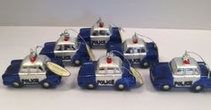 Set of 6 Blown Glass Police Car Christmas Ornaments Blue and White Squad Cars  #MidwestCBK