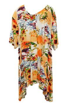 AKH Fashion Lagenlook Tunika Weste in orange Big Size Mode bei www.modeolymp.lafeo.de