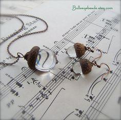 Glass Acorn Autumn Necklace and Earring Set by Bullseyebeads - Weddings - Crystal
