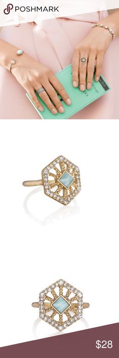 Portico hexagon ring size 7 Inspired by Rome's iconic art + architecture, add a pop of style with this everyday-perfect piece. Sparkling with clear crystal pavé, this intricate design centers semi-precious marbled pale blue stone in a delicate, antique gold-plated silhouette. Whether worn solo, or side by side your go-to c+i essentials, you'll find yourself reaching for this modern must-have time after time! antique gold-plated nickel-free plating semi-precious marbled pale blue stone, clear…
