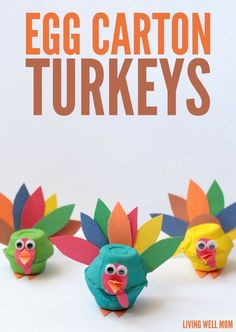 Carton Turkeys Craft - These adorable egg carton turkeys will be the delight of any kid creator. Reuse old egg cartons wit -Egg Carton Turkeys Craft - These adorable egg carton turkeys will be the delight of any kid creator. Reuse old egg cartons wit - Thanksgiving Crafts For Kids, Thanksgiving Activities, Holiday Crafts, Thanksgiving Decorations, Thanksgiving Turkey, Spring Crafts, Christmas Decorations, Preschool Crafts, Easy Crafts