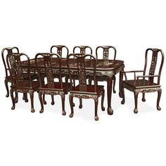80in Rosewood Queen Ann Dragon Motif Dining Table with 8 Chairs.  Table and chairs are laced with hand-carved imperial dragon motif along the edges. Dark cherry finish. Oriental Rosewood dining set.