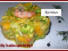 crevette rose, avocat, mangue, citron vert, oignon nouveau, huile d'olive, poivre, aneth, tabasco, fleur de sel